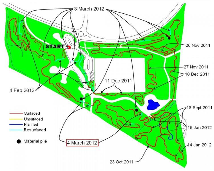 Trail build progress on 4th March 2012.