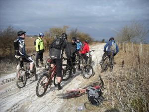 Mountain bikers on the ridgeway.