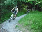 Riding a berm at Croft Trails in Swindon.