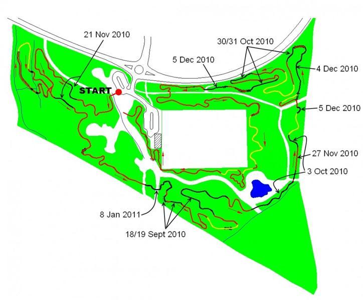 Trail build progress map, 8th Jan 2011.