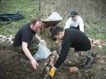 Burying drainage pipe.