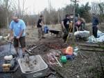 Volunteers building trail.