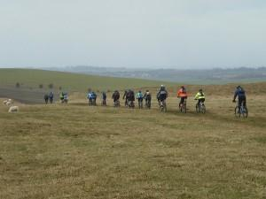Group of mountain bikers near Barbury castle.