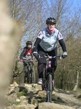 Woman mountain biker at Croft Trails, Swindon.