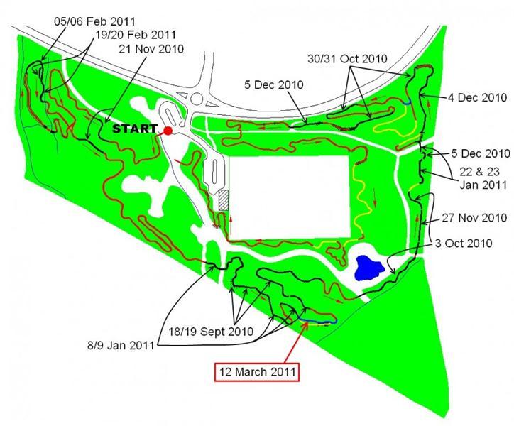Croft trail progress map on 12th March 2011.