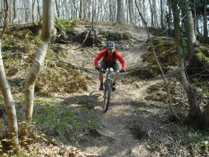MBSwindon club rider on steep slope in Wyre Forest.