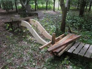 Wood ramp at mountain bike trail.