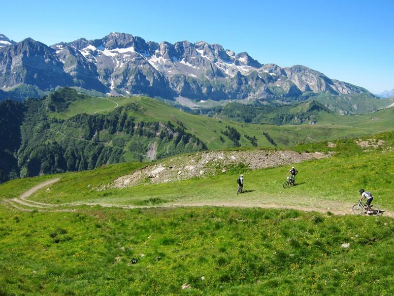 Mountain biking in the Portes Du Soleil on the Swiss side.