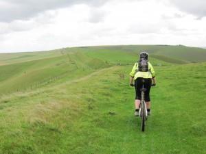 Mountain biker on the Wansdyke.