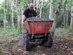 Power barrow with gravel for mountain bike trail.