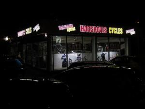 Hargroves Cycles store in Swindon in the dark.