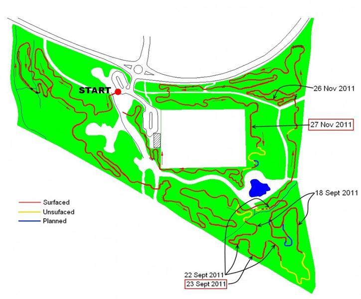 Trail build progress map at Croft Trail in Swindon Nov 2011.