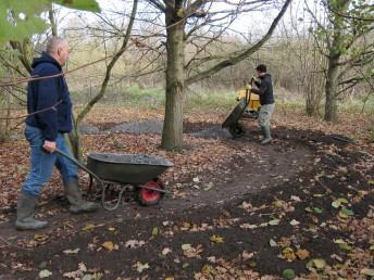 Surfacing a berm at the Croft Trails in Swindon.