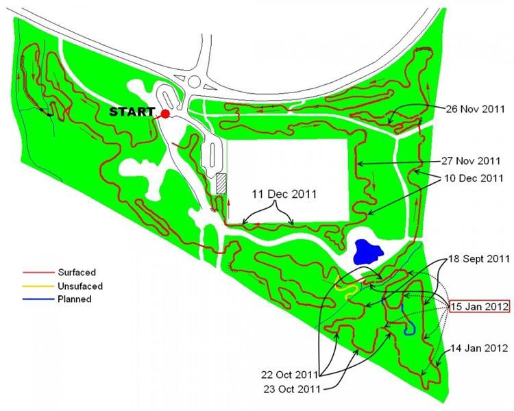 Trail build progress map for the Croft Trail in Swindon. Jan 2012.