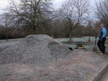 20 tonnes of limestone chippings waiting to be moved.