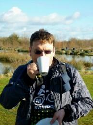 Drinking mug of tea at Cotswold Water Park.