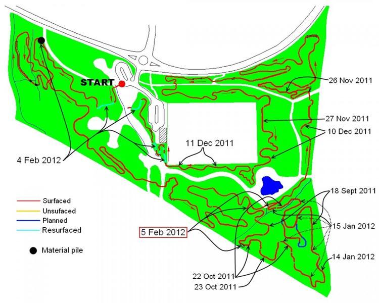 Croft Trail mountain bike track progress Feb 2012.