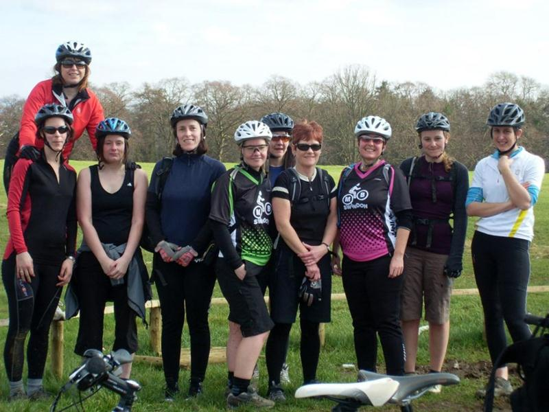 Group of women mountain bikers in Bristol.