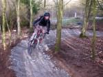 Test riding new berm at Wilsthire mountain bike trail.