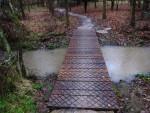 Bridge at mountain bike trail in Wiltshire.