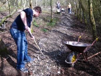 Volunteers building a trail in Swindon.