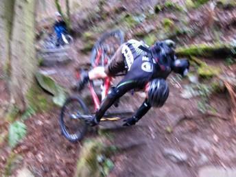 Big mountain bike crash on steps at Cwm Carn