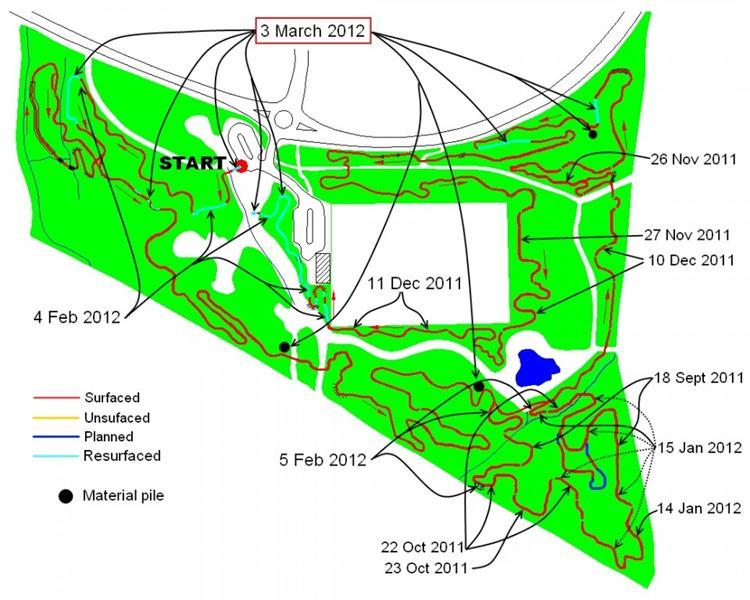 Croft Trail progress map March 3rd 2012.