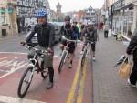 Mountain bikers in Ledbury.