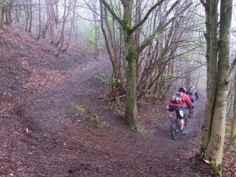 Switchback on Malverns mountain bike route.