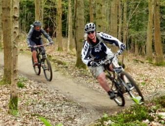 Women riders on the berms at the Forest of Dean