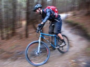 Riding downhill at Swinley Forest.