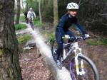 Woman riding an obstacle at the Croft Trail in Swindon.