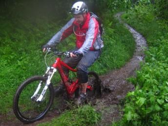 Wet mountain biker.