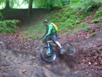 Mountain bike falling off.