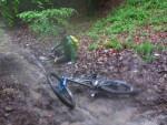 Falling off a mountain bike.