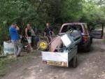 Wheel barrows in a trailer.