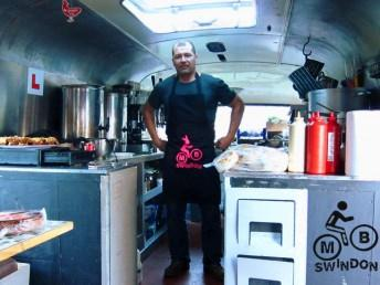 Ian Luff of the Drop Off Cafe with MBSwindon apron.