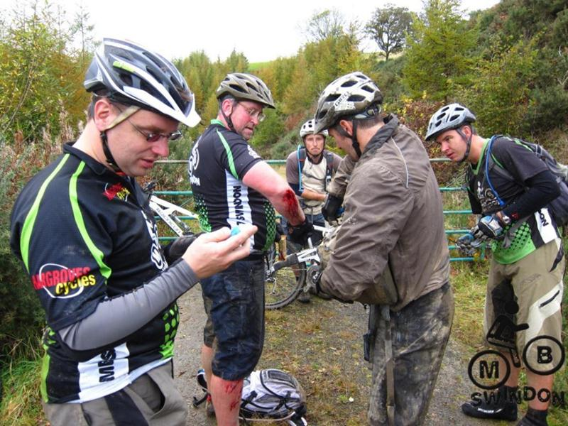 Injured mountain biker near Brechfa.