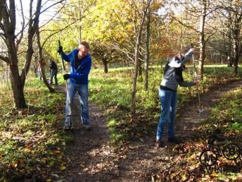 Raking leaves at the Croft Trail in Swindon.