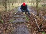 Log steps at Croft mountain bike trail in Wiltshire.