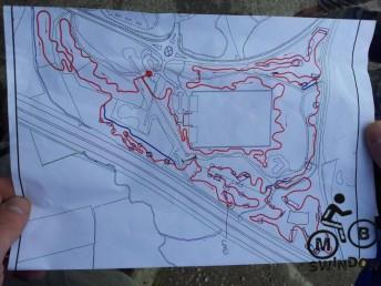 Trail map showing potholes