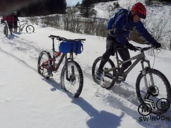Deep snow on mountain bike ride in mid Wales.