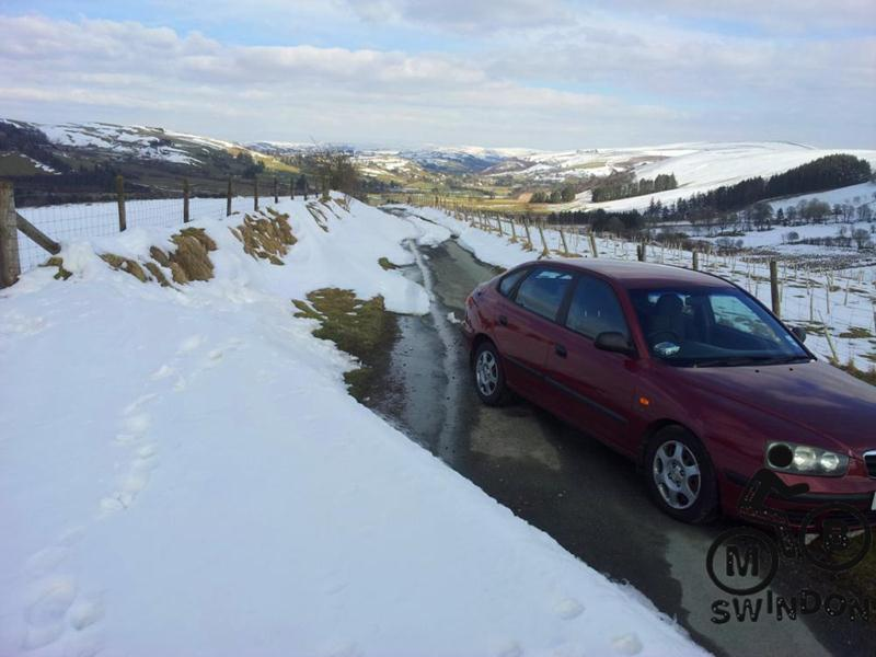 View of snow near Llangurig