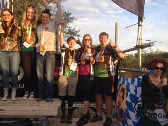 MBswindon ladies race team on podium at Bristol Oktoberfest.