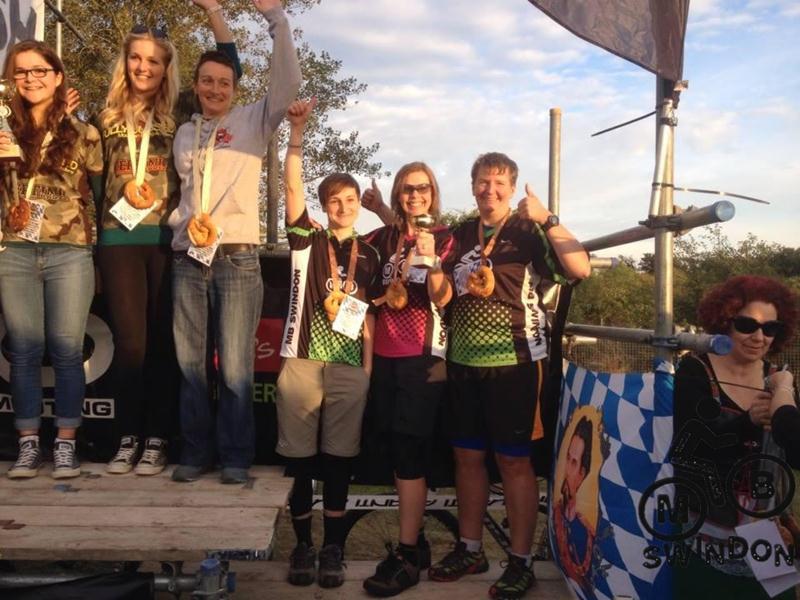 MBswindon ladies race team on podium at Bristol Oktoberfest.
