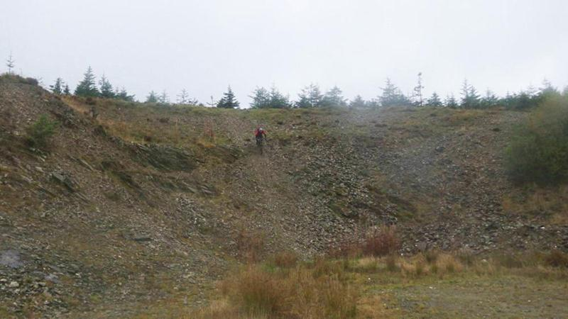 Riding the big quarry at Brechfa.