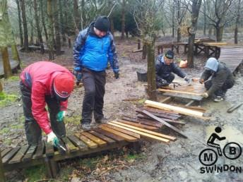 Building a wooden section at the Croft Trail in Swindon.